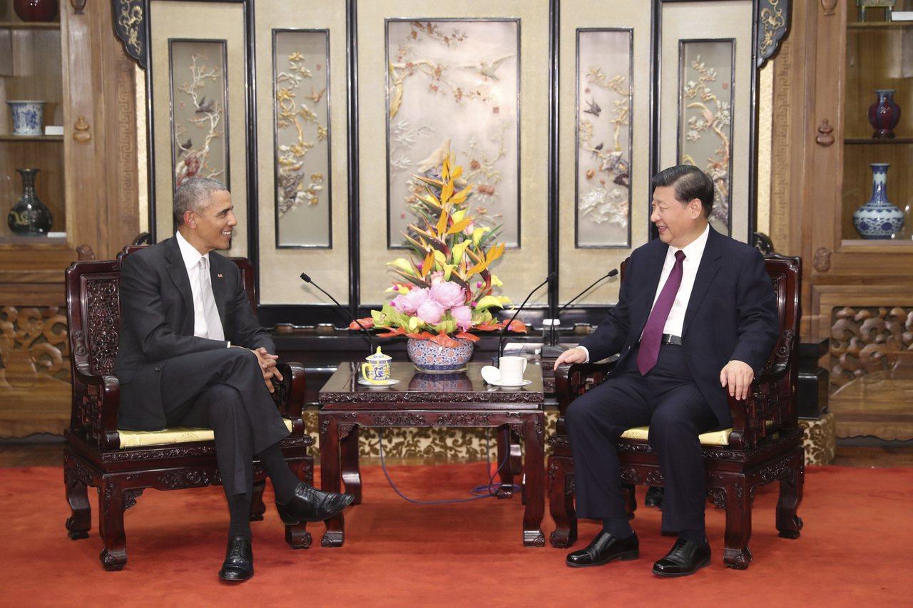 習近平會歐巴馬,秀19大成果。 中國新聞社