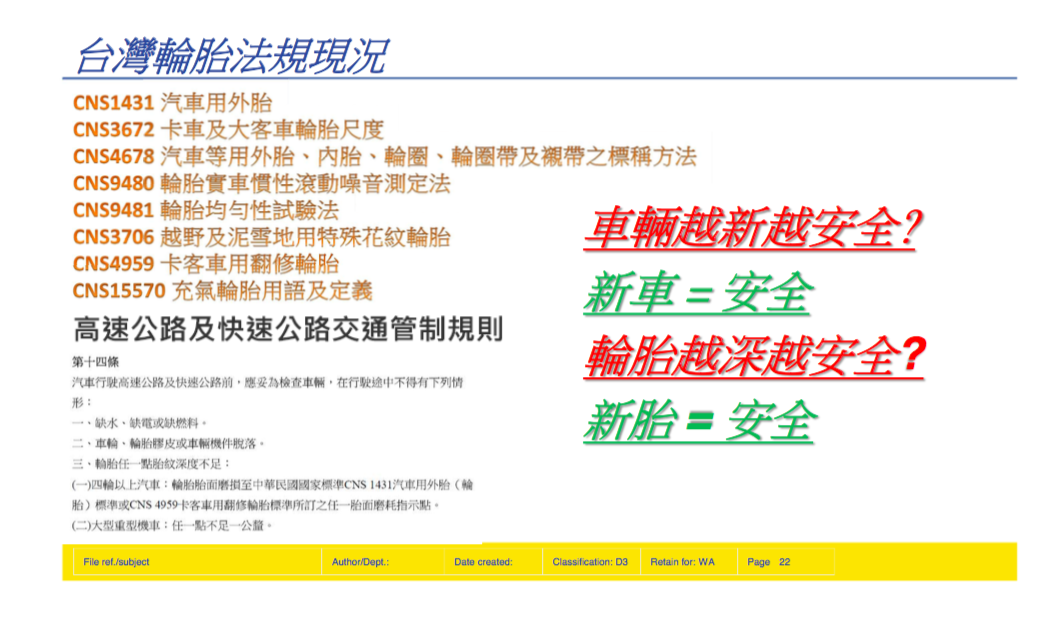 現行台灣法規針對四輪汽車採用的是中華民國國家標準CNS 1431輪胎或CNS 4959卡客車用翻修輪胎標準所定的任一胎面磨耗指示點,但是否新胎就等同安全?以及胎溝越深就越安全?值得大家深思。 米其林輪胎 提供