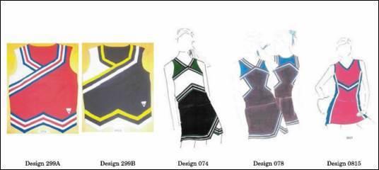圖一:系爭的啦啦隊服設計 圖片來源:USPTO