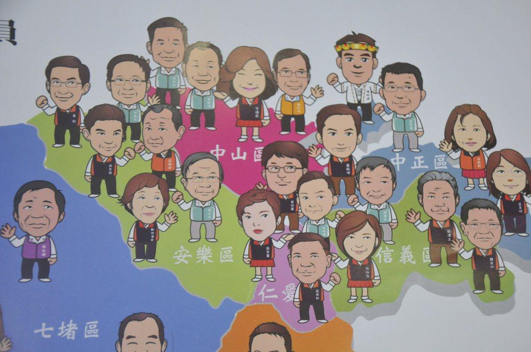 各議員Q版漫畫造型,十分逗趣,看了令人莞爾。記者游明煌/攝影