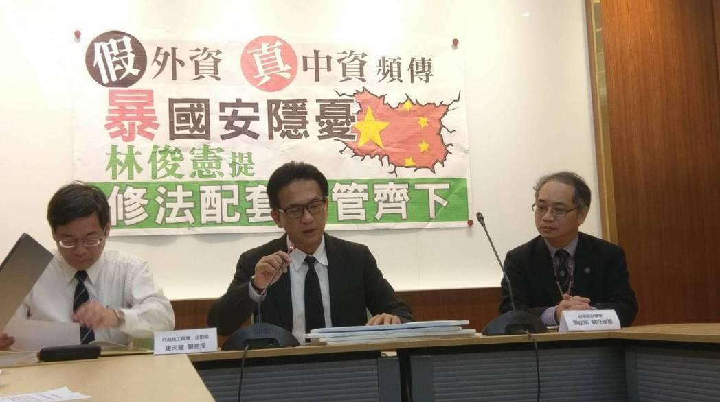 綠委林俊憲昨(1)日召開記者會,呼籲修正《政府採購法》,杜絕「假外資,真陸資」的...