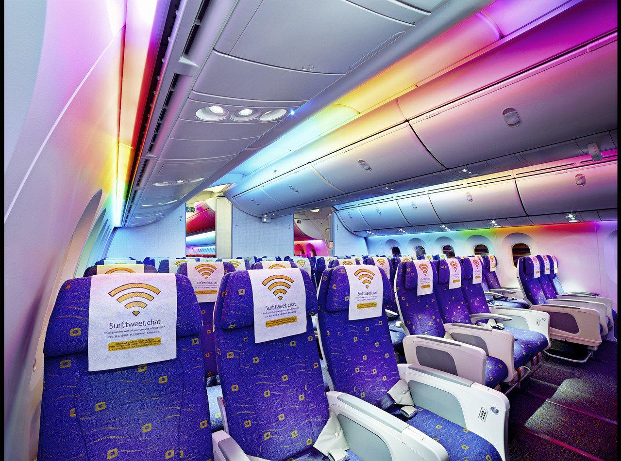 酷航經濟艙LED燈光效果情境照,相當酷炫。 圖/酷航提供