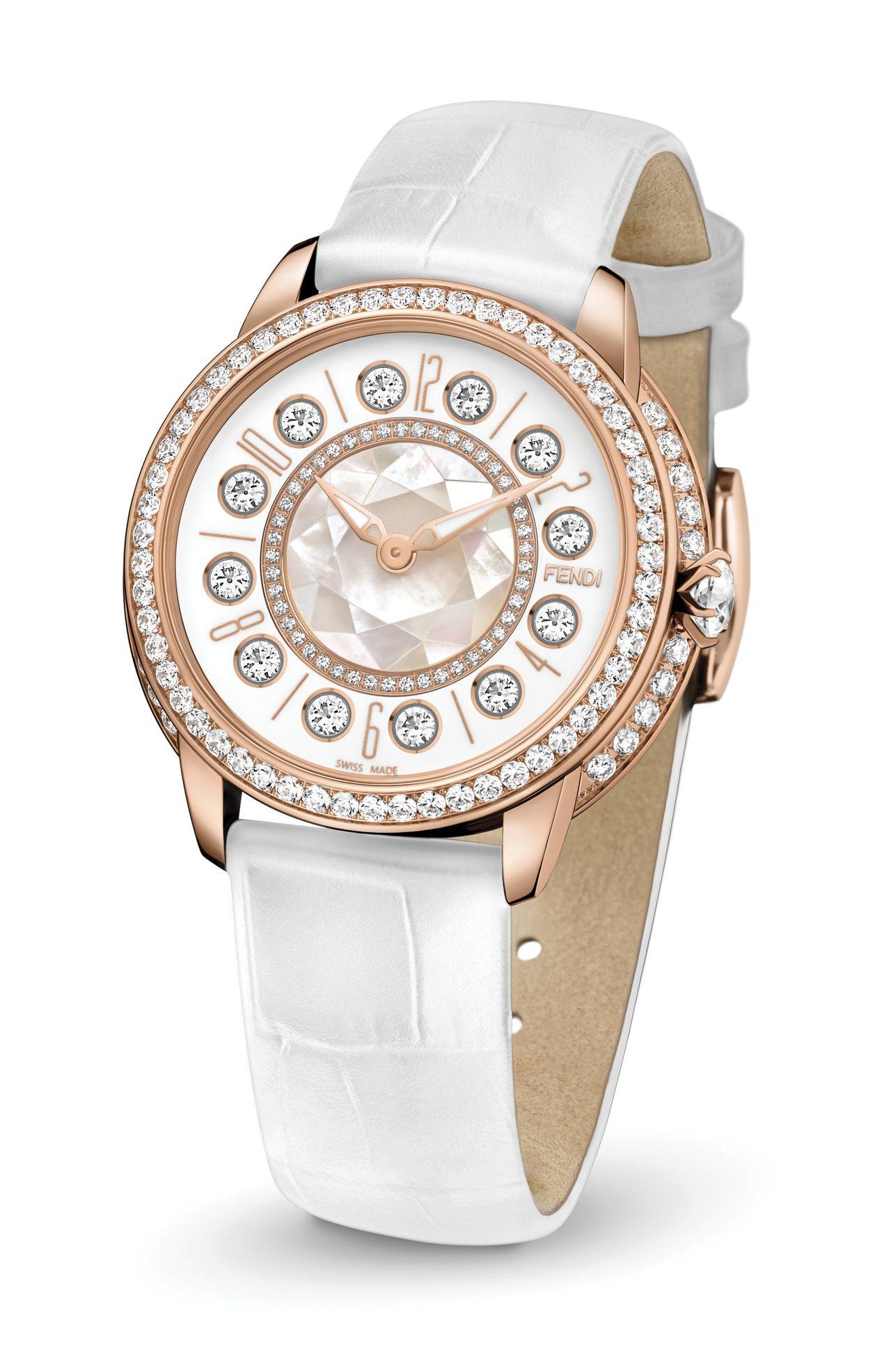 微風信義首賣的聖誕節系列IShine鱷魚皮手表,91萬8,000元。圖/Fend...