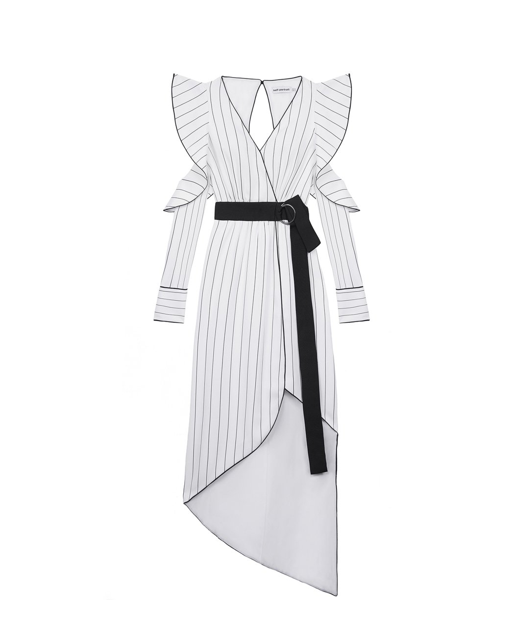 Self-Portrait開襟條紋綁帶洋裝,售價15,900元。圖/MINOSH...