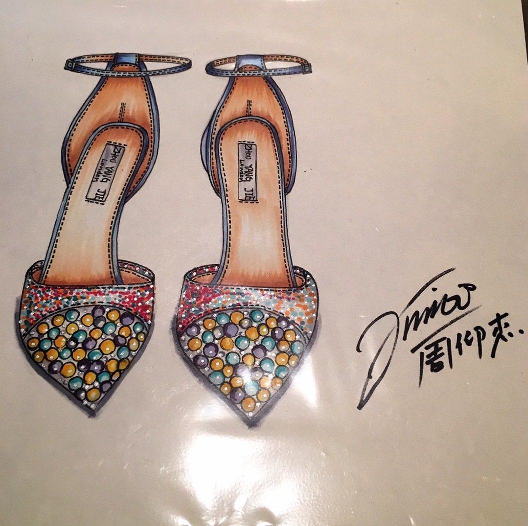 華麗威尼斯慈善晚宴拍品之一─國際知名設計師周仰杰Jimmy Choo手繪圖。圖/...