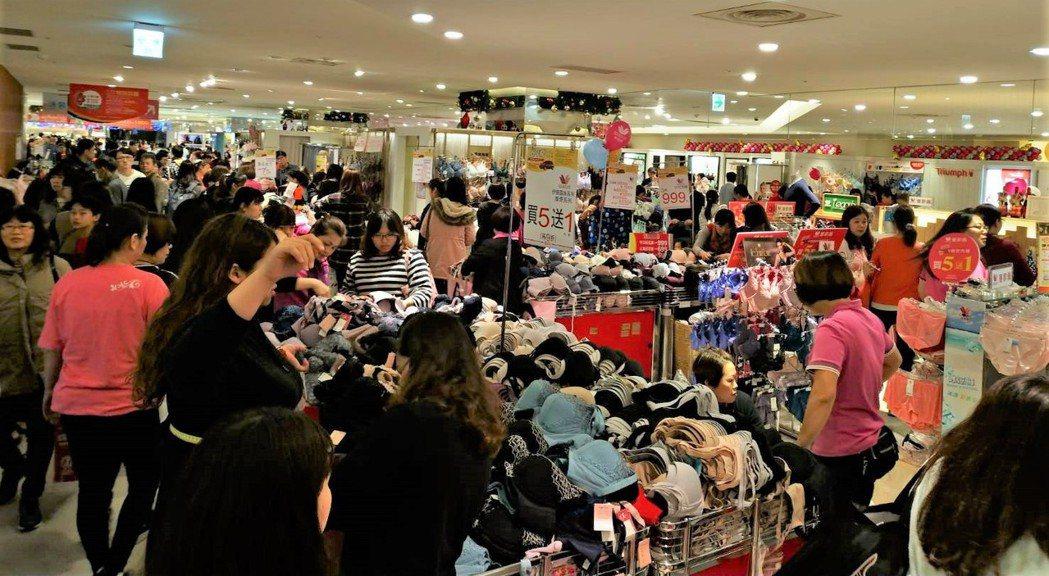 內衣周年慶促銷買氣旺,回饋率達34.2%,業績較去年成長7%。 圖/業者提供