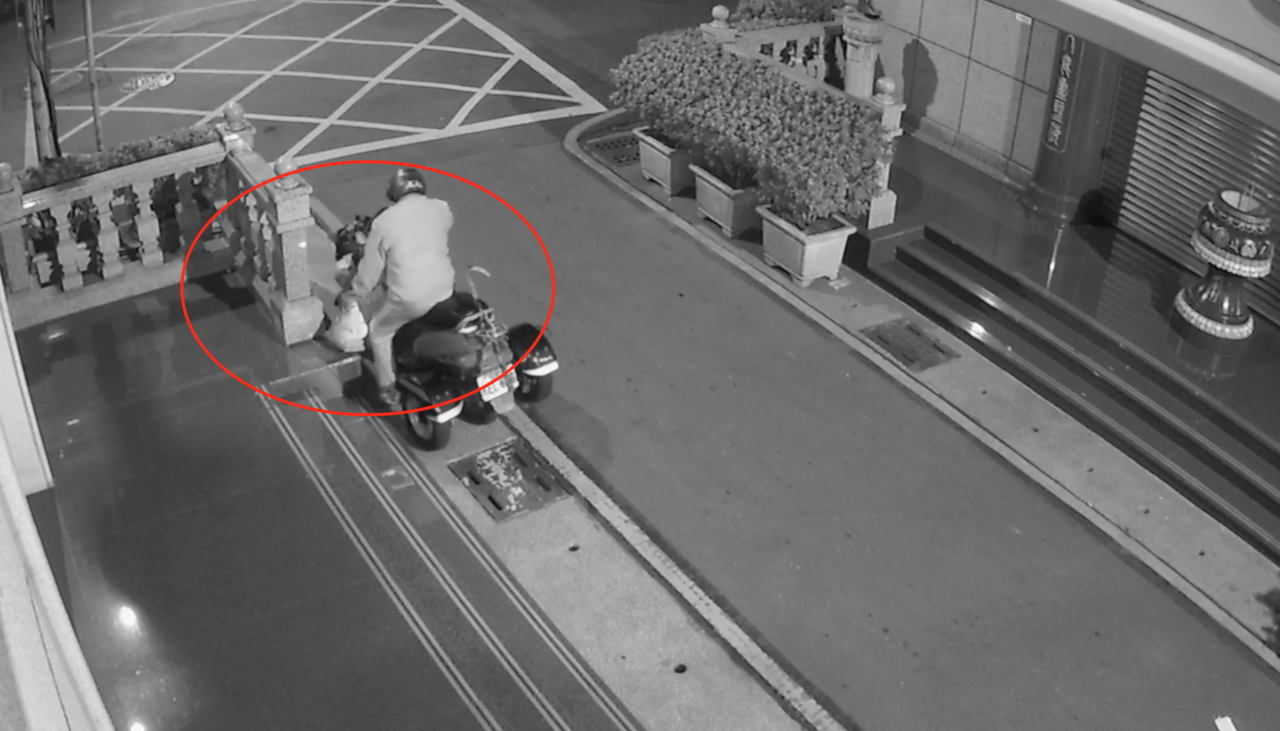 張姓嫌犯轉移目標偷第二隻石獅,成功偷起,石獅約25到30公斤重。記者劉星君/翻攝