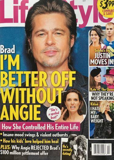 布萊德彼特被傳認為和裘莉分開比較好。圖/摘自Life & Style