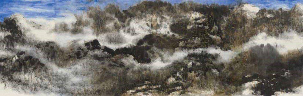 展出作品之一羅芳作品「小雪」,394 x 123 cm。