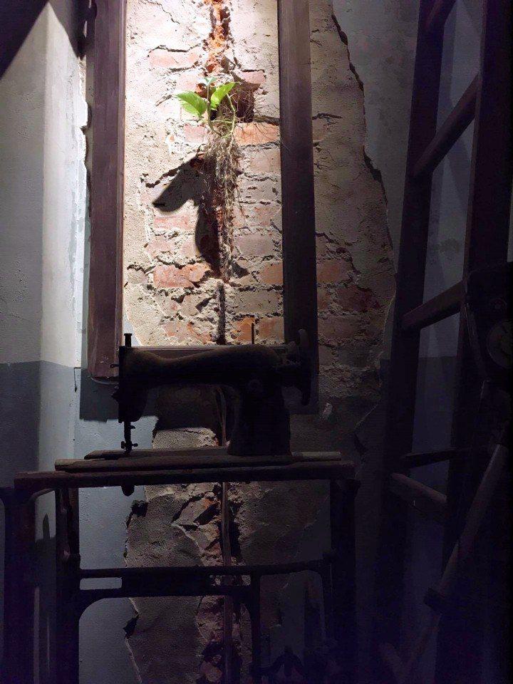 九崁28一隅,紅磚破裂的牆縫放了地瓜,象徵台灣人在夾縫中努力求生存,底下則是台骨...