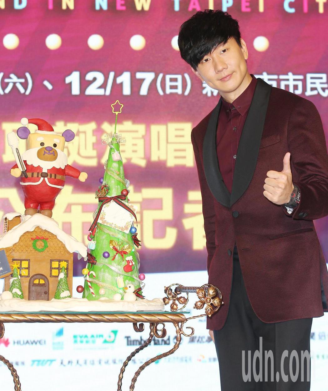 林俊傑出席新北歡樂耶誕城記者會。記者陳正興/攝影