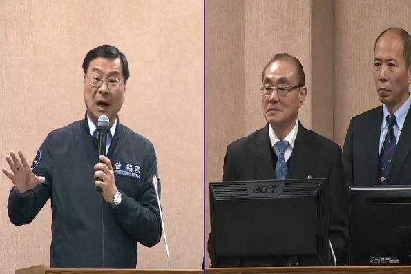 國防部長馮世寬(中)上午在立法院表示,對台灣來說北韓不是敵人,「中共才是直接威脅...