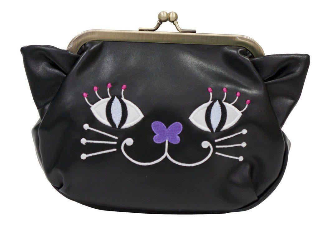貓咪珠扣化妝包,2,180元(黑)。圖/ANNA SUI提供