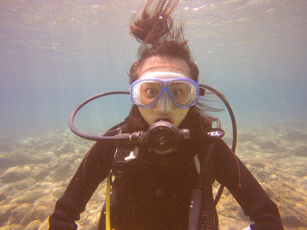 文雨非迷上潛水。圖/可米提供