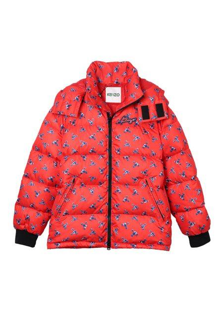 KENZO MEMENTO N°1限量系列紅色印花羽絨外套,37,800元。圖/...