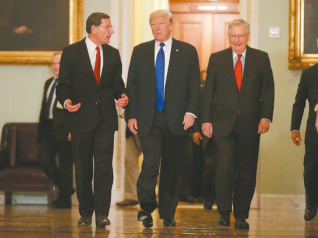 共和黨參議員樂觀指出,若一切順利,「十天之內」稅改案就能送到總統川普(中)的桌上...