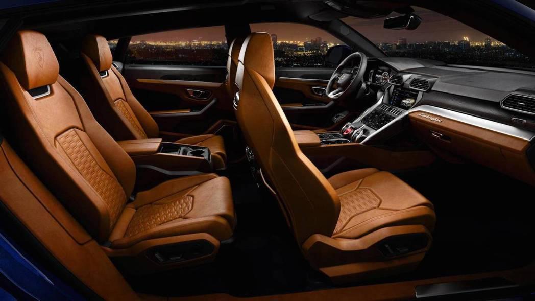Lamborghini Urus 內裝大量採用Alcantara皮革。 摘自Lamborghini