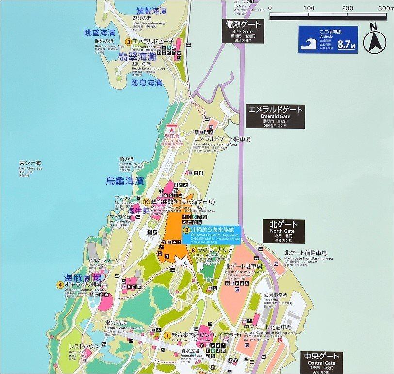 ↑海洋博公園的導覽牌,烏龜海灘和翡翠海灘在公園北端,如果只想去海灘,可以直接將車...