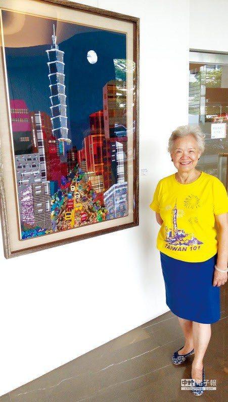 凌渝英發揮藝術家的本真,巧奪天工的「布畫藝術品」,創造出一系列「101大樓及建築...