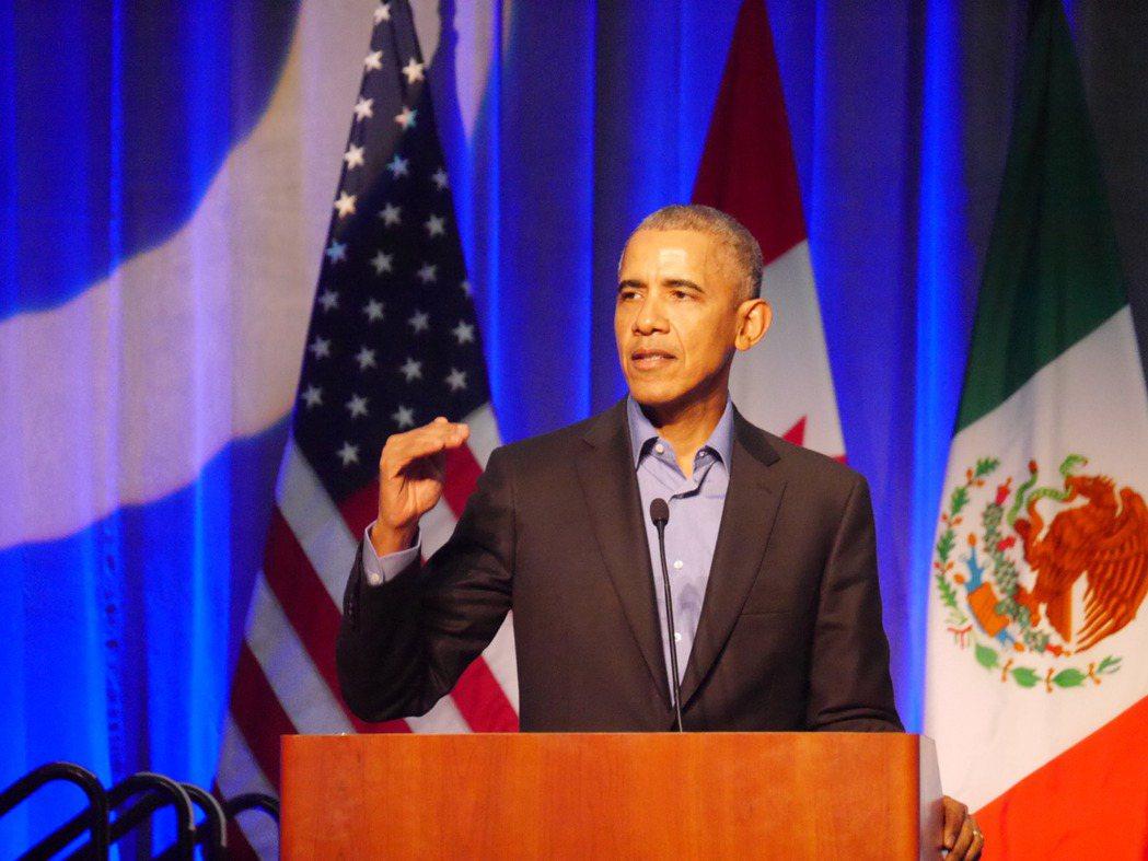 美國前總統歐巴馬推文獲得網友按讚次數最多,圖為歐巴馬呼籲美國各地落實環保行動。報...