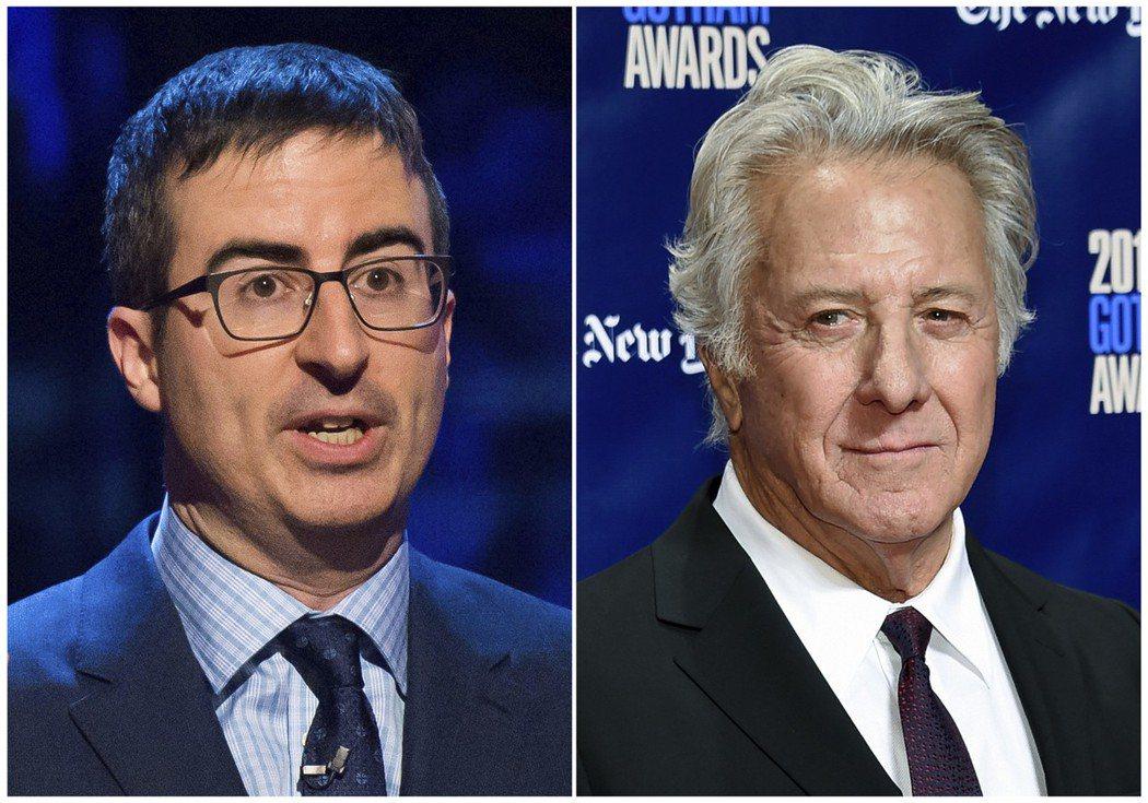 約翰奧立(左)不滿達斯汀霍夫曼(右)對性騷指控的回應。 圖/美聯社