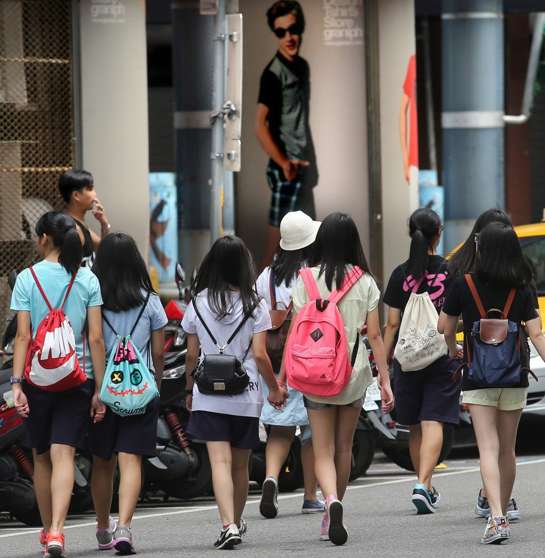 西門鬧區,一群青少年走在大街閒逛。 聯合報系資料照/林澔一攝影