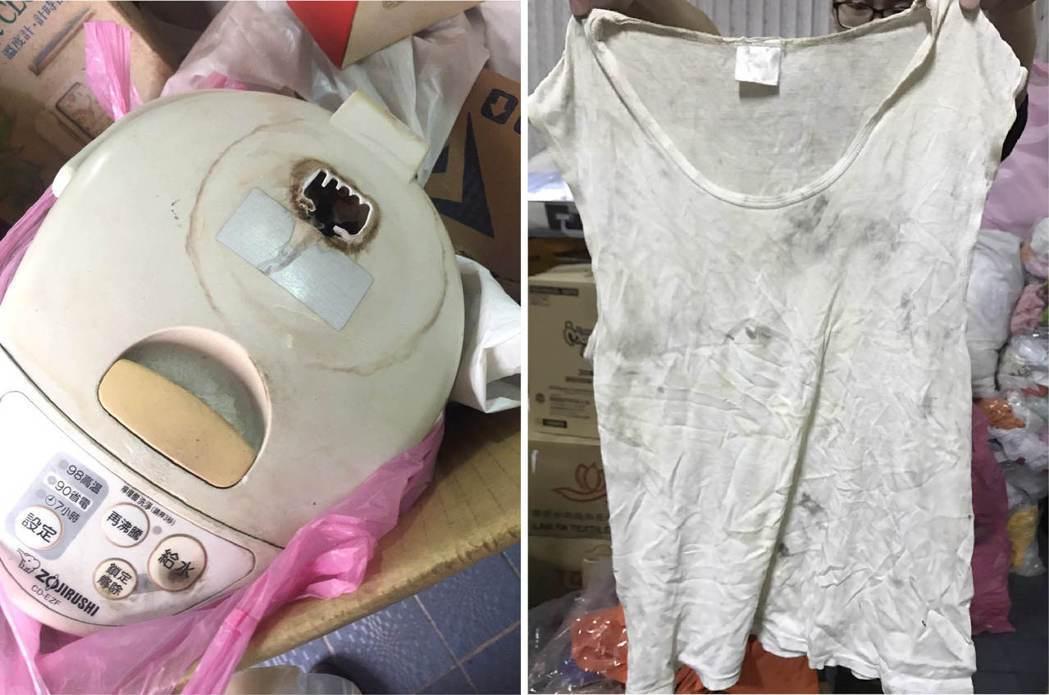 勵馨基金會愛馨物資中心收到破損不能使用的家電(左圖),以及明顯髒汙的衣服(右圖)...