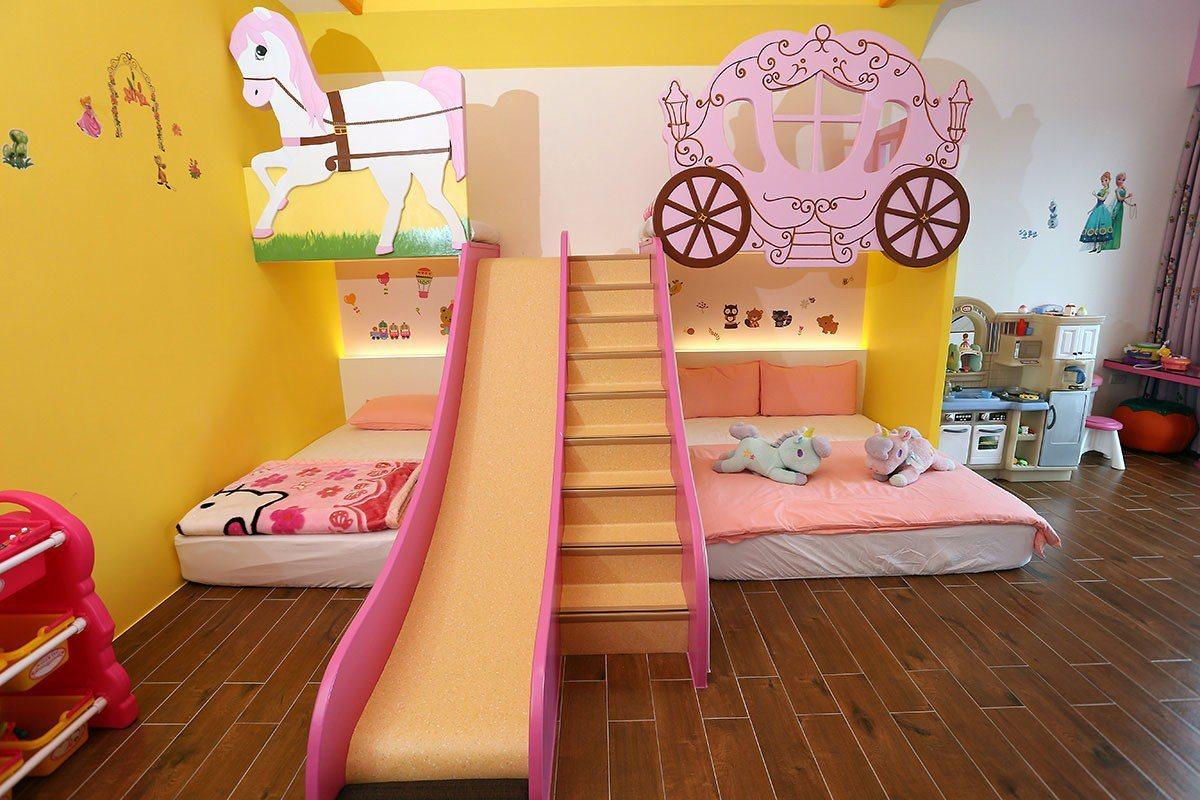 糖果屋民宿的飛天馬車親子房是小公主的夢幻城堡。