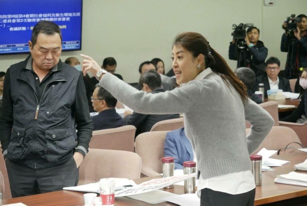 立委許淑華用立法院質詢照片,對民進黨強行通過促轉條例的憤怒。記者江良誠/翻攝