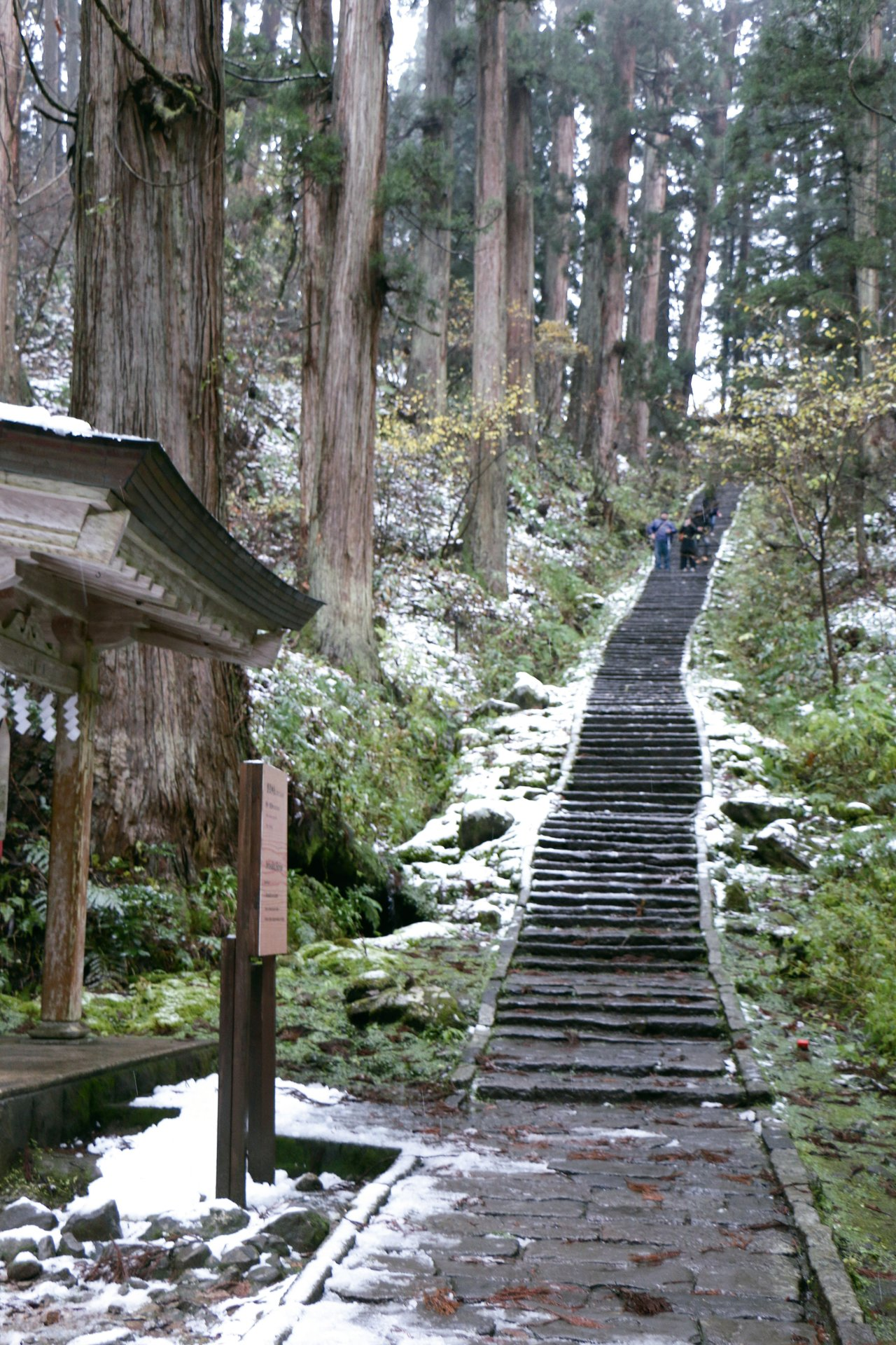 造訪羽黑山五重塔,進入隨神門後,有一段綿延的步道。