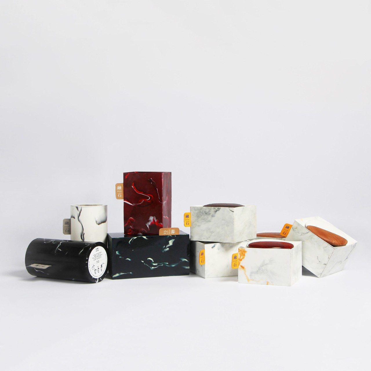 台灣藝術大學學生黃心薇等4人的作品「融石」,3日在東京獲得亞洲學生包裝設計競賽最...
