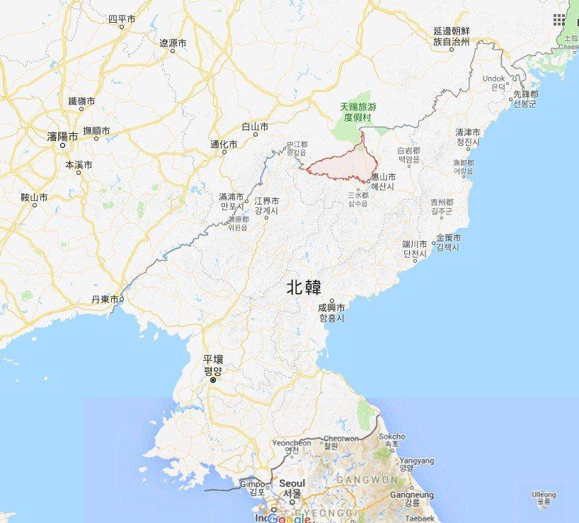 長白朝鮮族自治縣位置圖 圖/擷取自google map