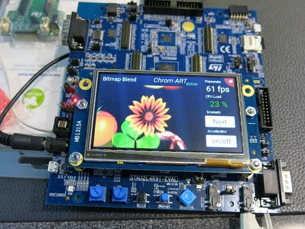 圖1 : MCU內建繪圖功能已屬必要,圖為採用ST新款MCU的開發板,可流暢處理...
