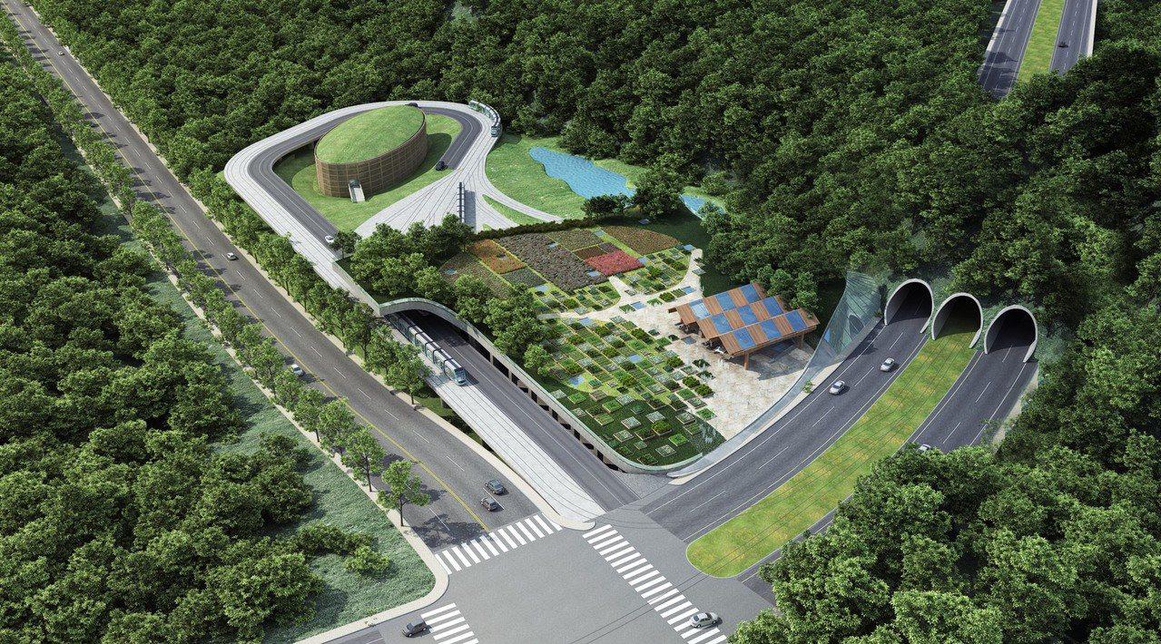 安坑輕軌三孔隧道模擬示意圖。圖/新北捷運局提供