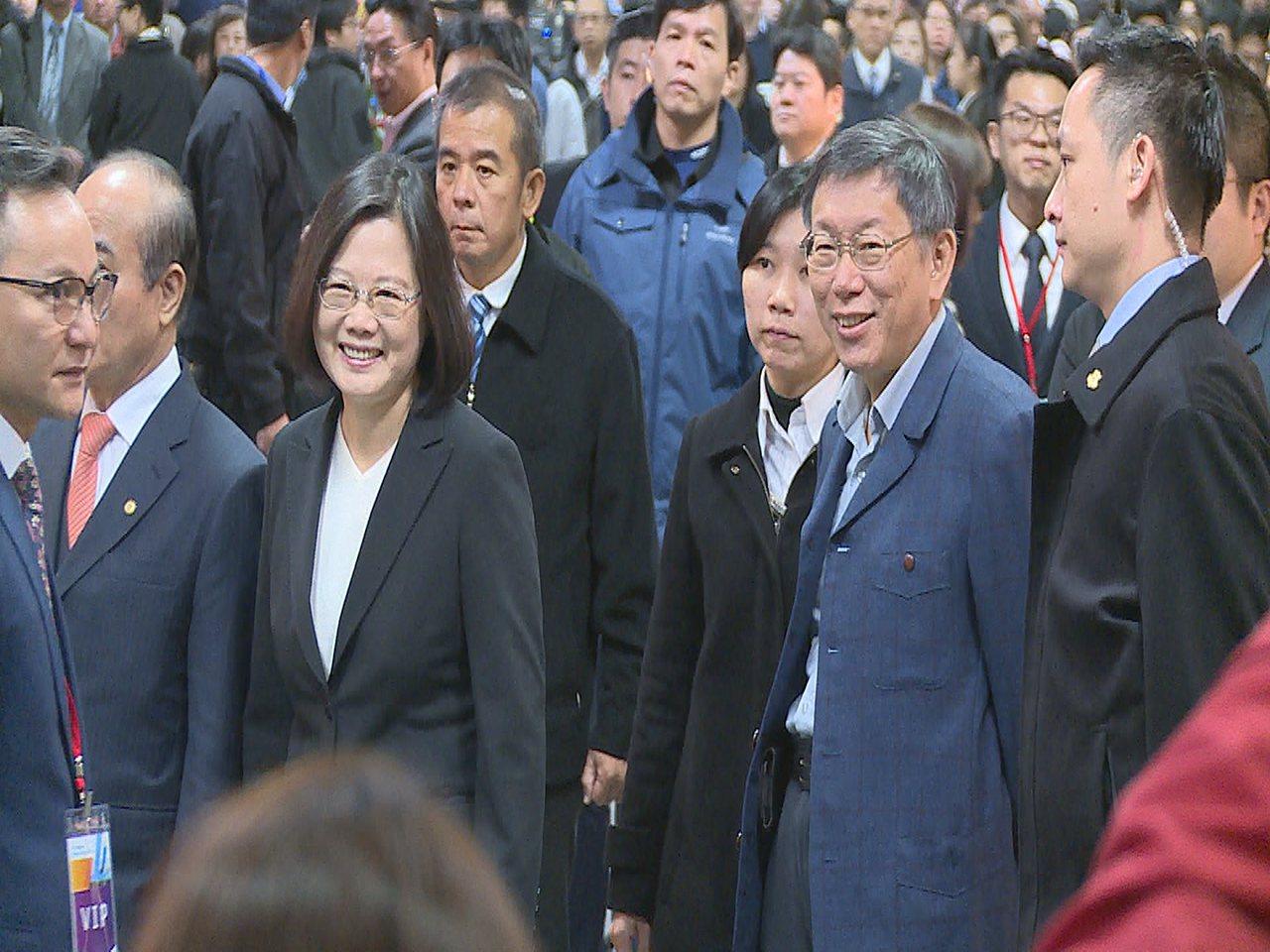蔡英文與柯文哲共同出席台灣醫療科技展。記者陳煜彬/攝影