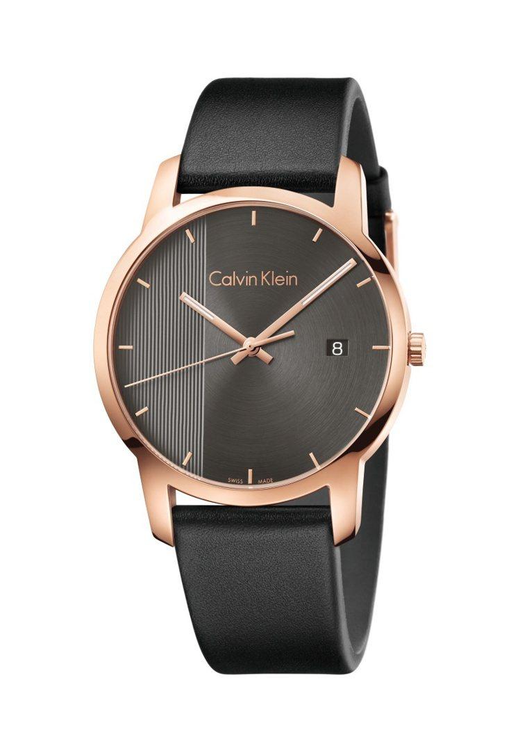 Calvin Klein都會系列腕表,鍍PVD玫瑰金表殼搭配小牛皮表帶,約9,5...