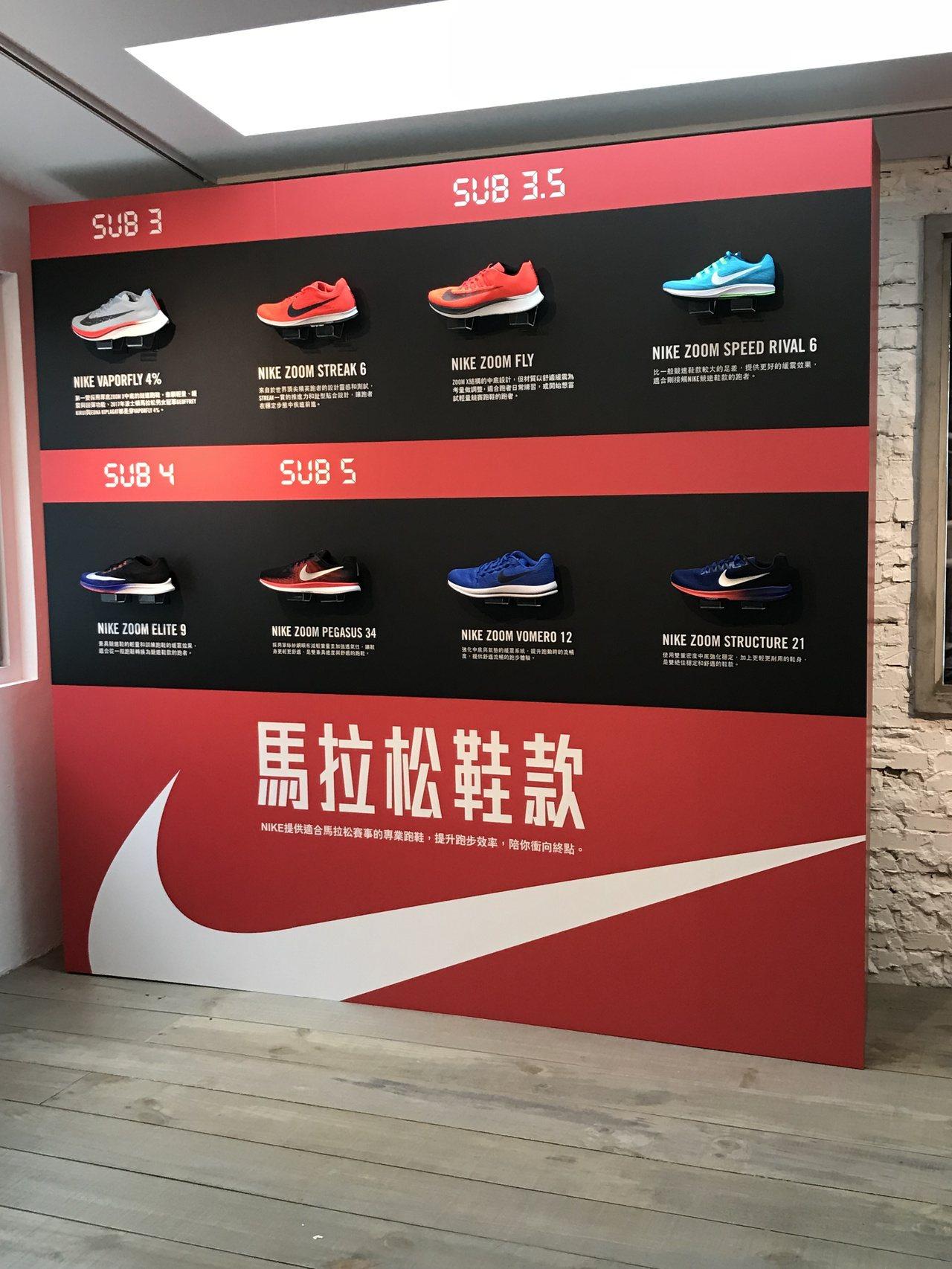 NIKE針對不同跑者推出功能性不同的馬拉松鞋款。記者劉肇育/攝影