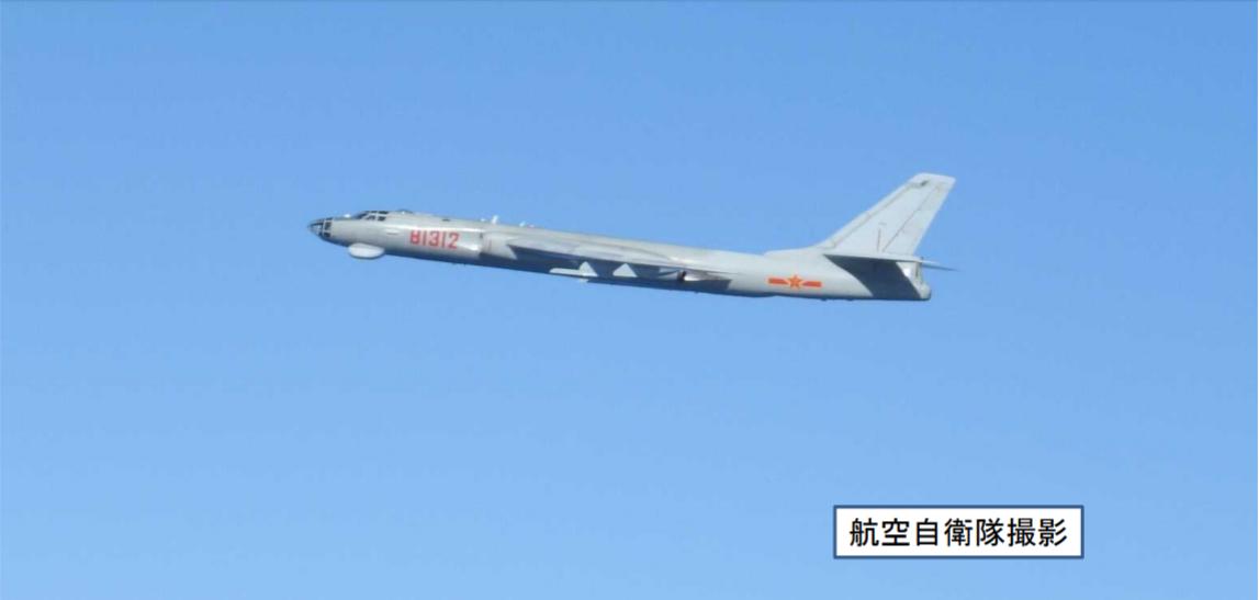 中共海航轟六G型機。圖/日本防衛省提供
