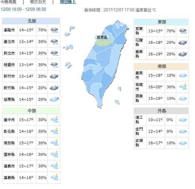 冷!13度來了 高山可能下雪。圖/中央氣象局提供