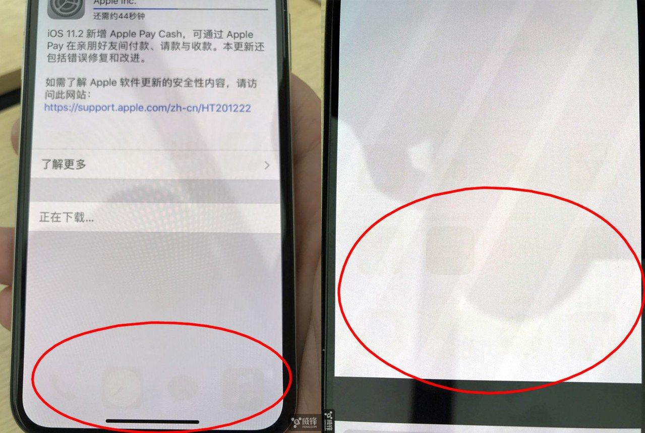 大陸網友公開兩張照片,iPhone X出現螢幕烙印。 圖擷自威鋒論壇
