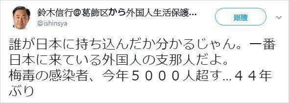 鈴木信行指日本感染梅毒人數暴增,都是「支那人」帶進來的。 圖擷自鈴木信行推特