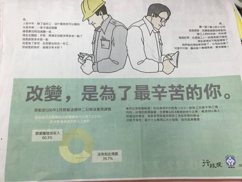 行政院昨在各大媒體登勞基法廣告。記者周佑政/翻攝