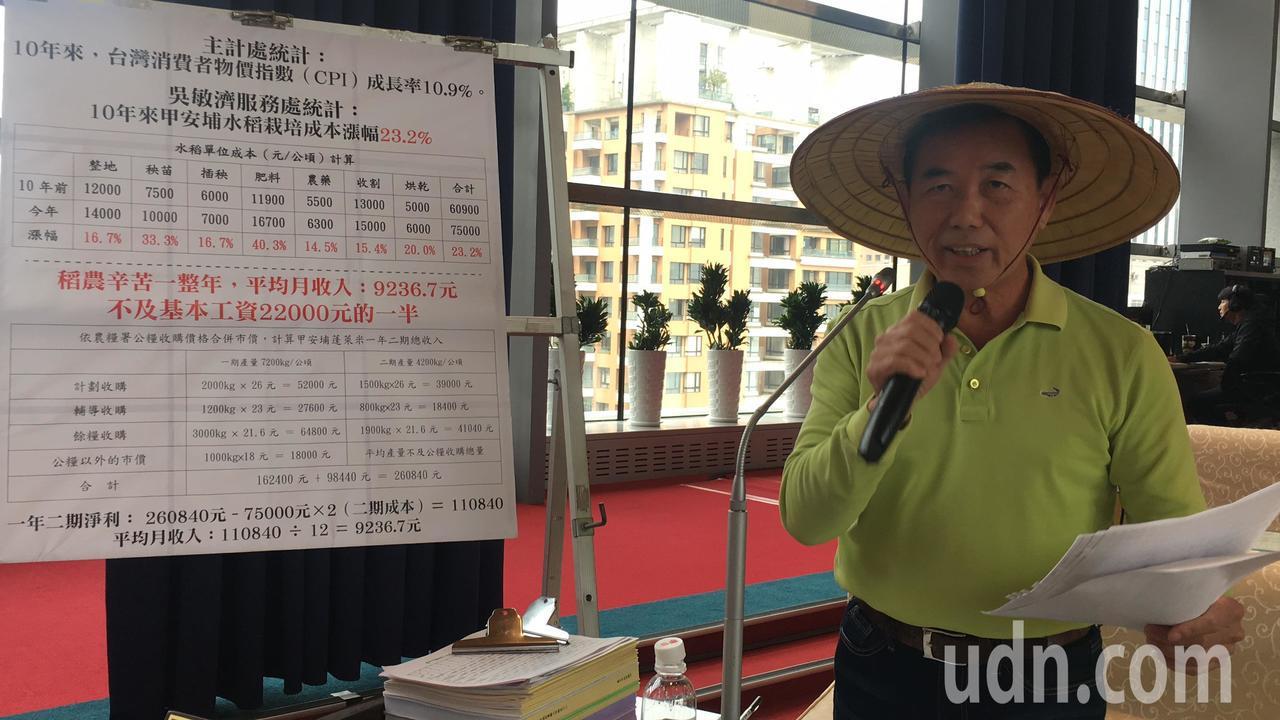 台中市議員吳敏濟嘆老農生計難。記者陳秋雲/攝影