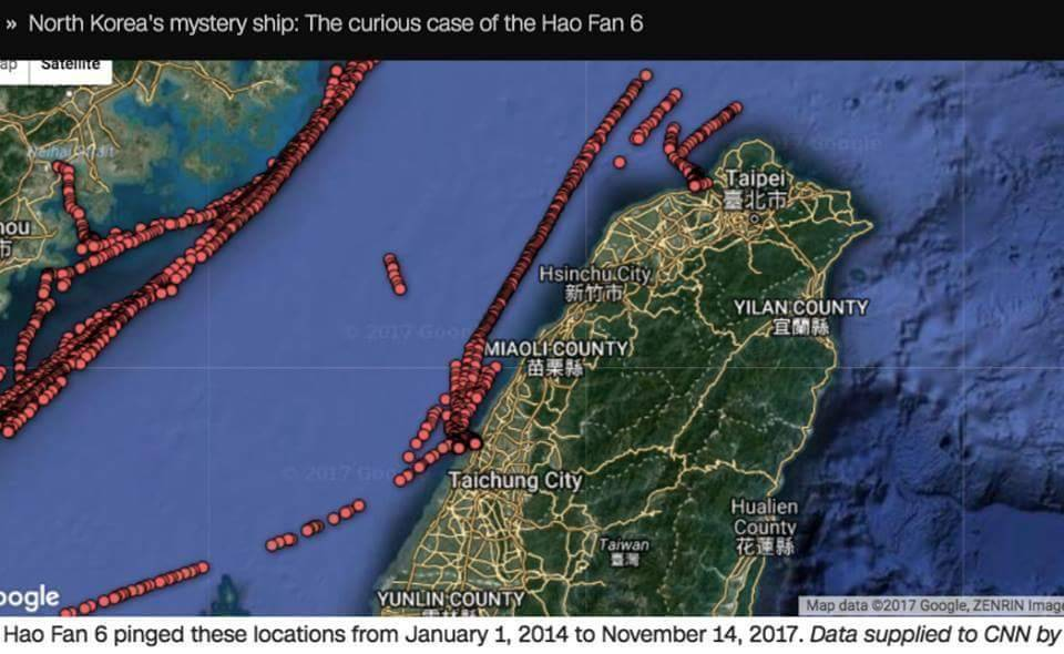 CNN報導文中附圖,顯示北韓神祕船浩帆6號曾來過來台灣。 圖/擷自CNN網站