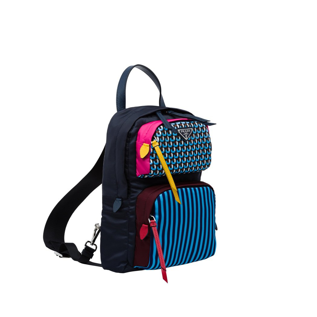 PRADA Holliday & Brown系列藍色印花拼接斜背包,35,00...