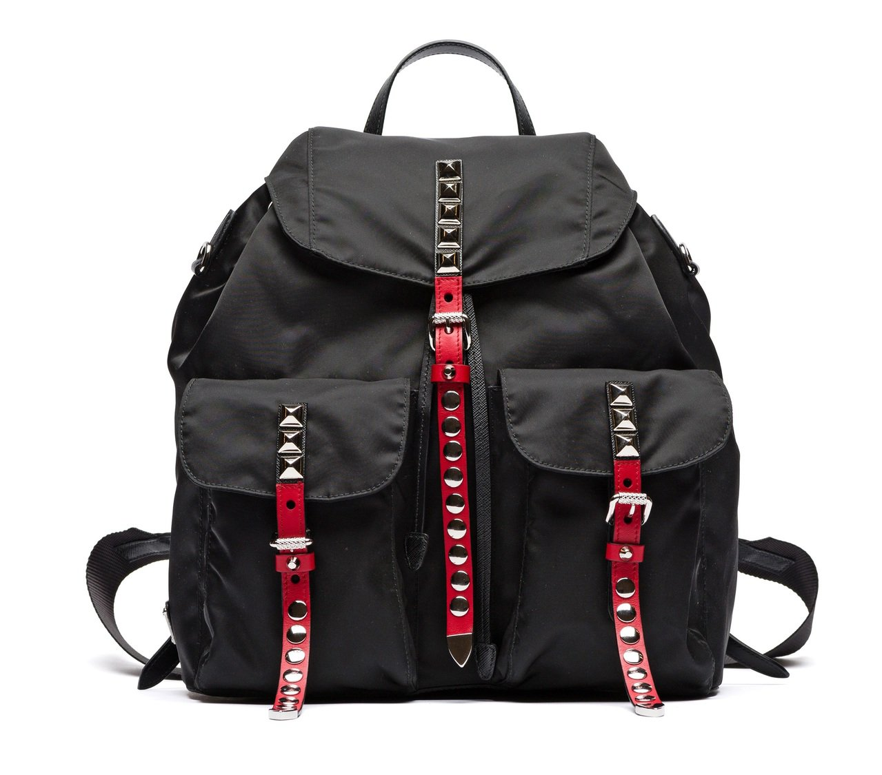 PRADA鉚釘裝飾尼龍後背包,48,500元。圖/PRADA提供