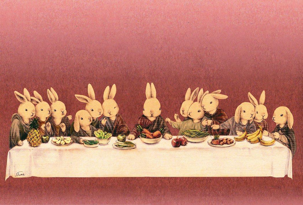 達文西的名作,大型壁畫《最後的晚餐》。一想到要把這幅名作改成兔兔名畫,馬上就想著...