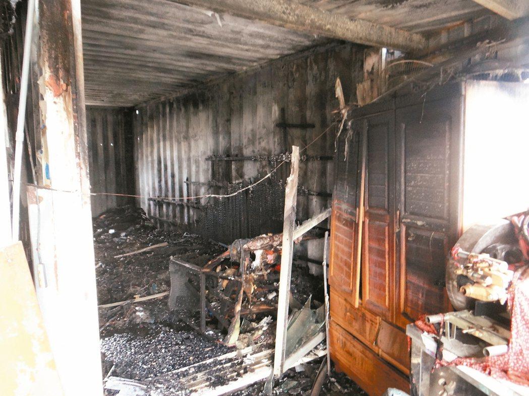 雲林東勢鄉貨櫃屋火警,三名孩童一死兩重傷。 記者蔡維斌/翻攝