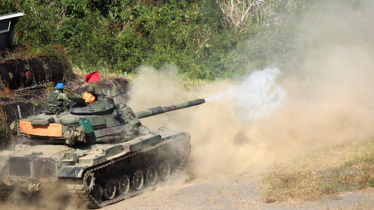 234旅的M60A3戰車,在聯勇操演中射擊。圖/軍聞社