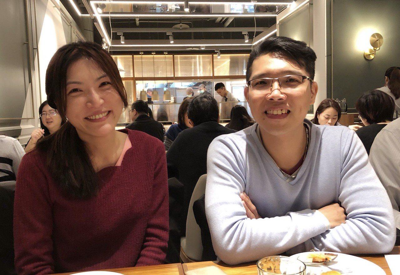台鐵首位女司機邱千芳(左)與未婚夫王界明。記者侯俐安/台北報導